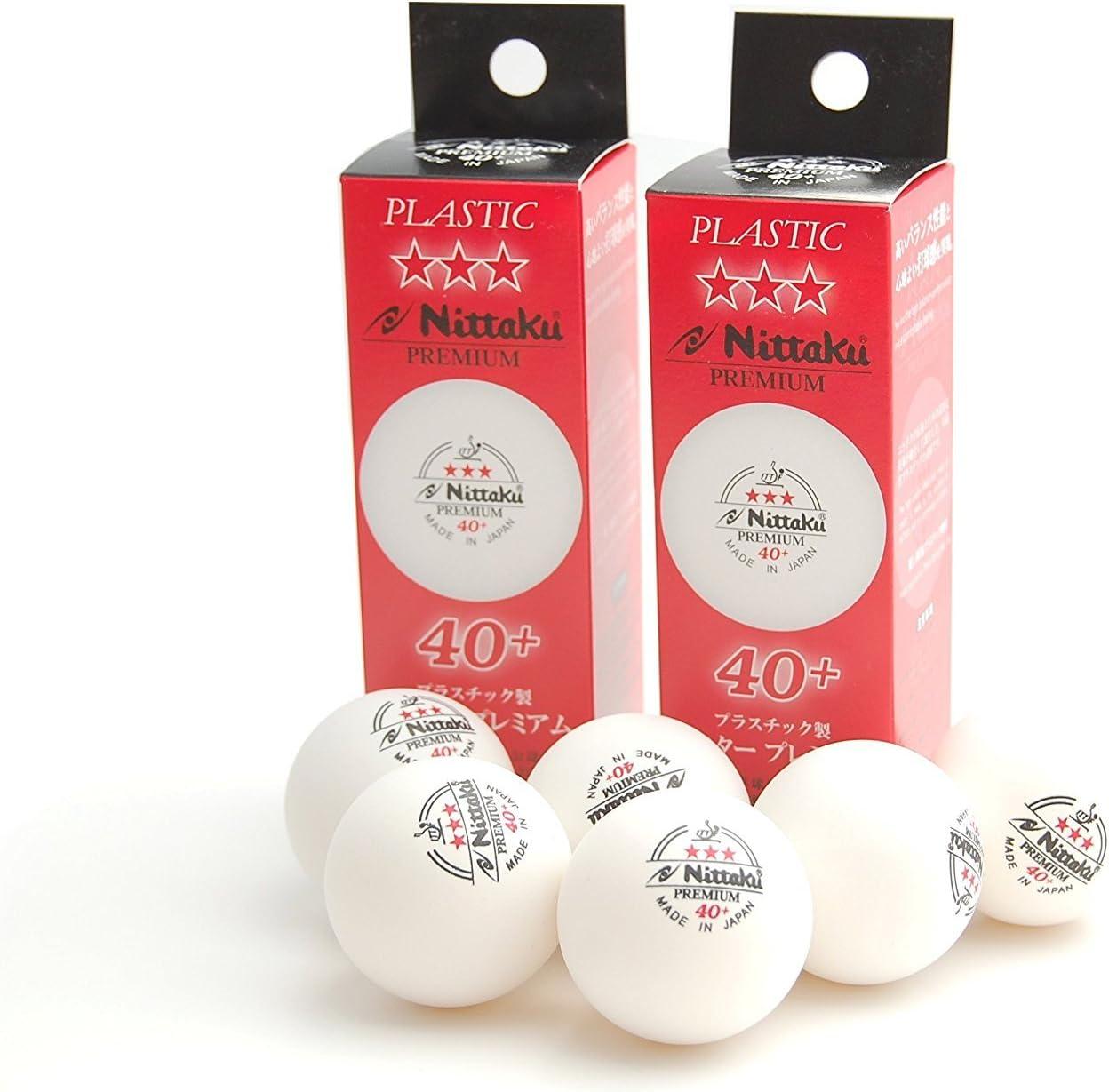 Nittaku 3-Star Premium 40+ - Pelotas de tenis de mesa, 6 bolas