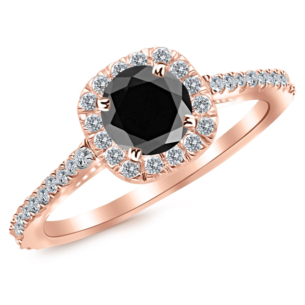 2.35 Carat 14K Rose Gold Gorgeous Classic Cushion Halo Style Diamond Engagement Ring 14K Rose Gold with a 2 Carat Round Cut AAA Quality Black Diamond (Heirloom Quality)
