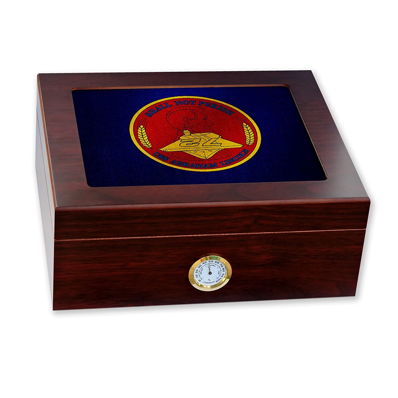 最新のデザイン プレミアムデスクトップHumidor – ガラストップ ガラストップ B06X17XT72 – – 米国海軍エイブラハムリンカーン B06X17XT72, SG MALL:e9446371 --- school.officeporto.com