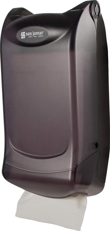 San Jamar H5003P Venue Wall Mount Interfold Napkin Dispenser, 600 Capacity, 8 Width x 15-3/4 Height x 7-3/4 Depth, Black Pearl H5003PTBK