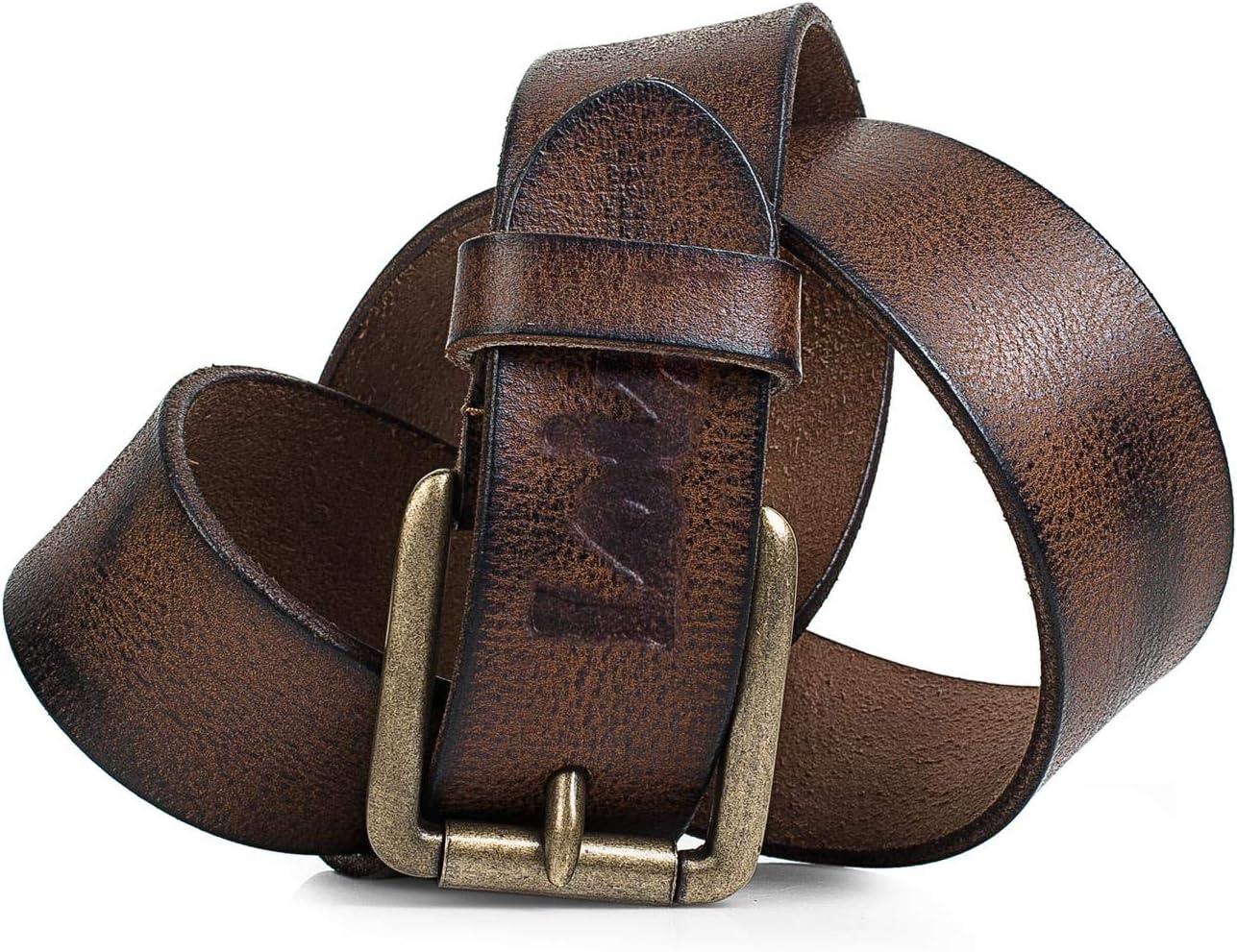 Lois - cinturón de cuero piel genuina. hebilla metálica. craquelado. flexible y duradero. caja para original. vaqueros chinos. ancho 40 mm. 501004, Color Marron