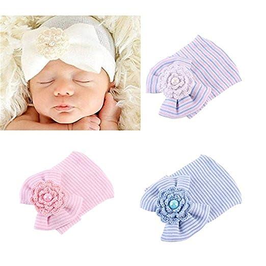 017c454968e Newborn Hospital Hat Infant Baby Hat Cap with Big Bow Soft Cute Knot  Nursery Beanie (