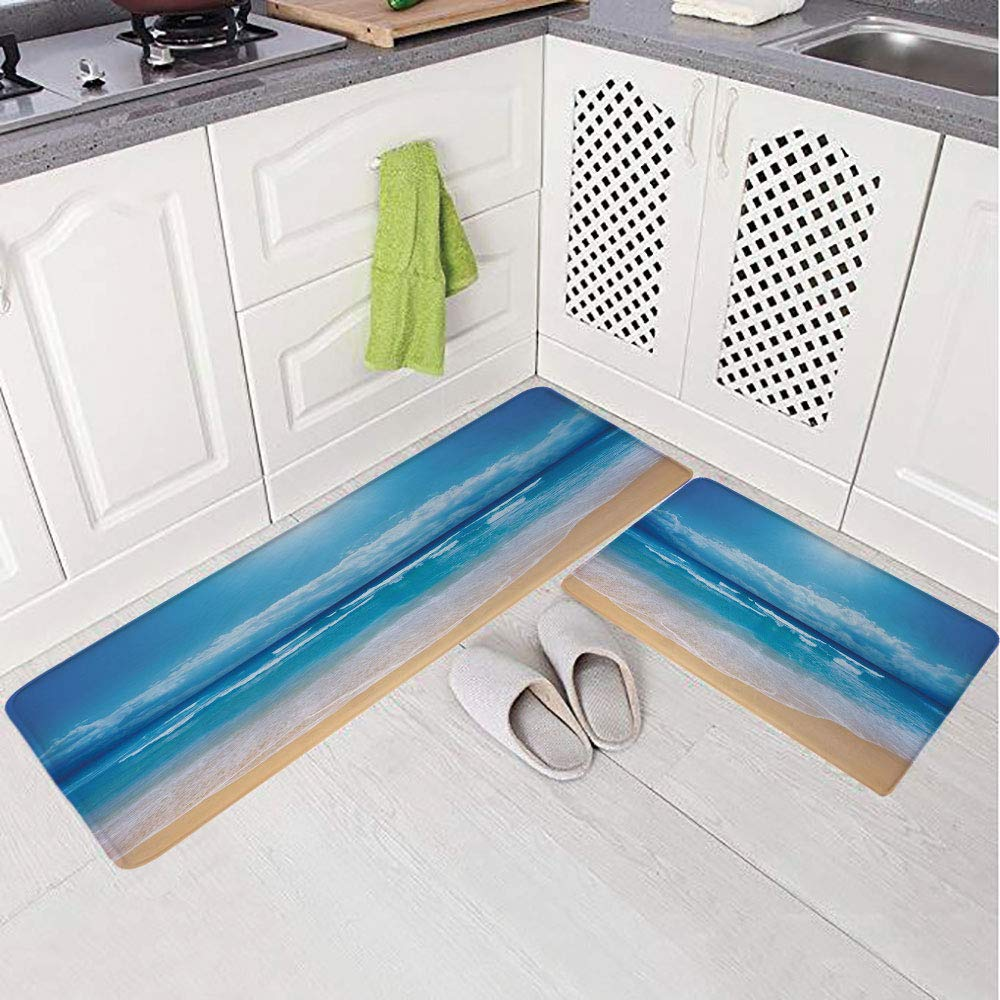 2 Piece Non-Slip Kitchen Mat Rug Set Doormat 3D Print,Beach and The Cloudy Sky in Summer Digital,Bedroom Living Room Coffee Table Household Skin Care Carpet Window Mat,