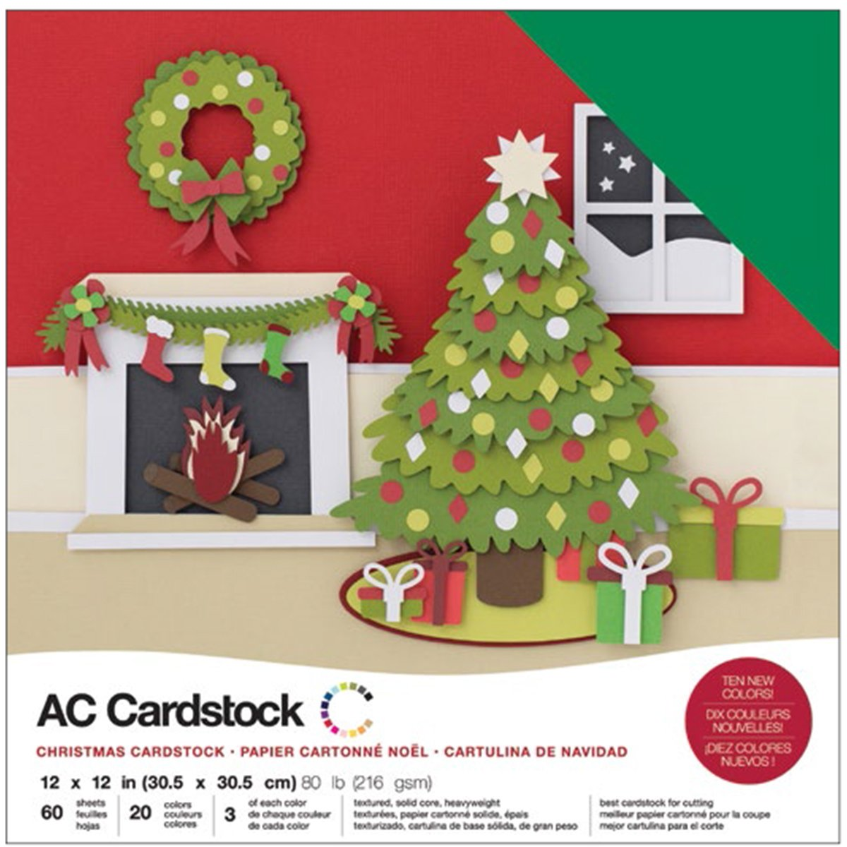 American Crafts Variety Cardstock Pack 12X12 60/Pkg-Christmas 376985