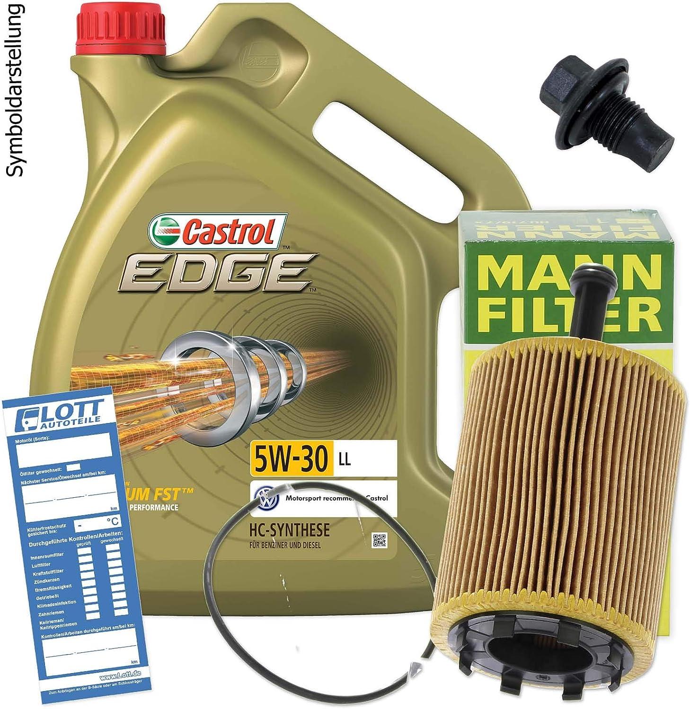 Ölwechsel Set Inspektion 5l Castrol Edge Titanium Fst Ll 5w 30 Öl Motoröl Mann Ölfilter Öl Ablassschraube Verschlussschraube Auto