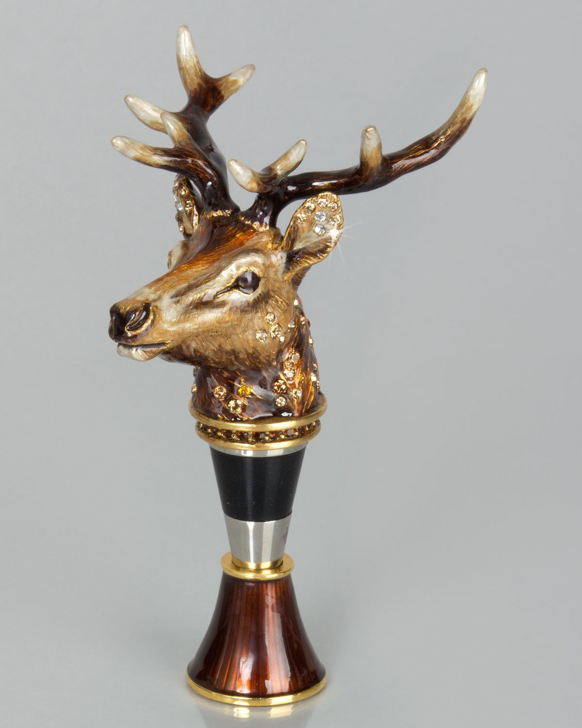 Jay Strongwater Stag Head Wine Stopper with Stand - Multi Colors