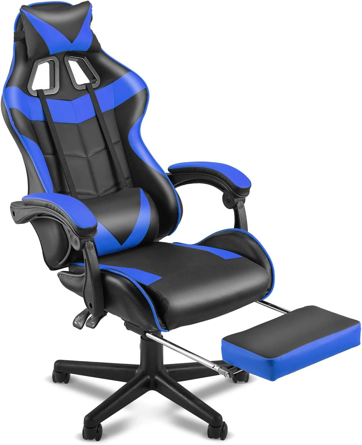 SOONTRANS Racing Style PC Computer Chair,Gaming Chair, E-Sports Chair,Ergonomic Office Chair with Height Adjustment,Retractable Footrest,Headrest and Lumbar Support(Storm Blue)