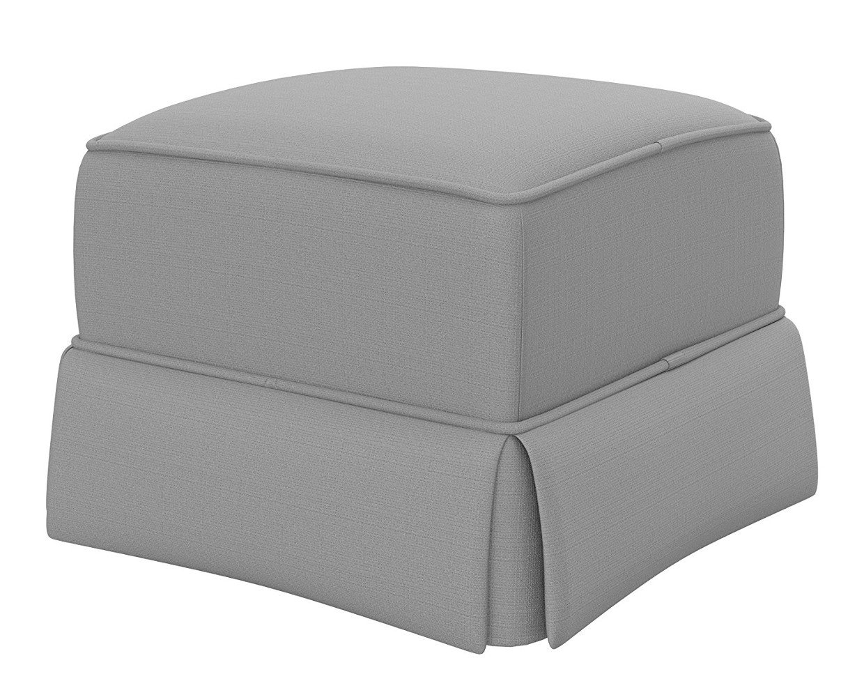 Grey Upholstered Ottoman Modern Square Cube Glider Seat Metal Base and Wood Frame Fabric Covered For Kids Room , Bedroom Or Living Room & eBook by Easy&FunDeals