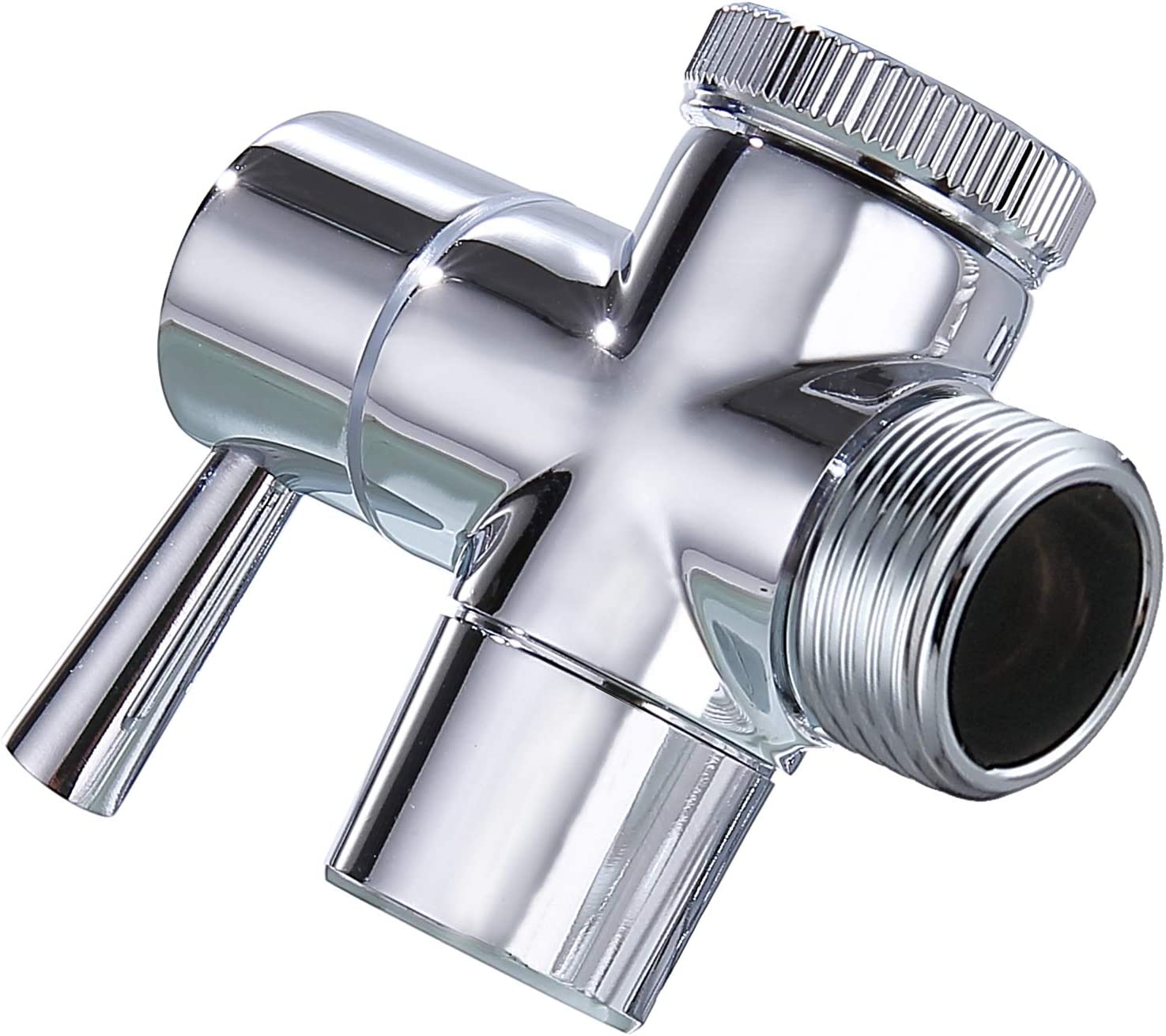 All Metal Faucet Diverter Valve, Faucet Adapter for Hose Connection, Faucet Connector for Water Distribution, with Aerator and External Thread Adapter, Suitable for Bathroom/Kitchen Faucet (Chrome)
