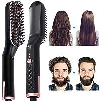 Beard Straightener Comb AUSELECT 3IN1 Hair Straightener Brush, Heated Beard Brush Ceramic Ionic Heating Control Electric…