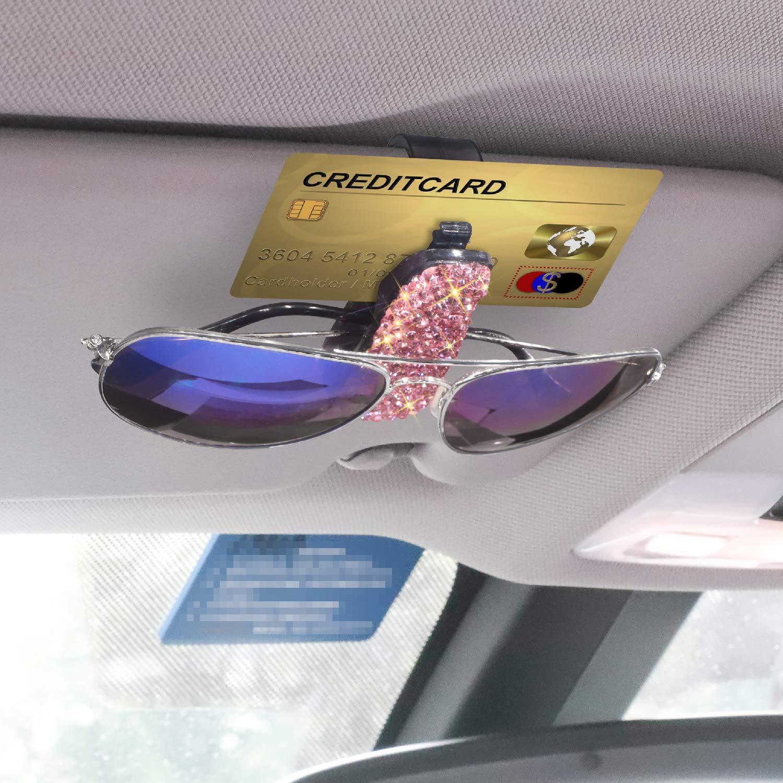 Porte Lunettes de Soleil Clip de Carte de Ticket Soleebee Scintillait Strass Clips de Lunettes pour Pare-Soleil de Voiture Gris
