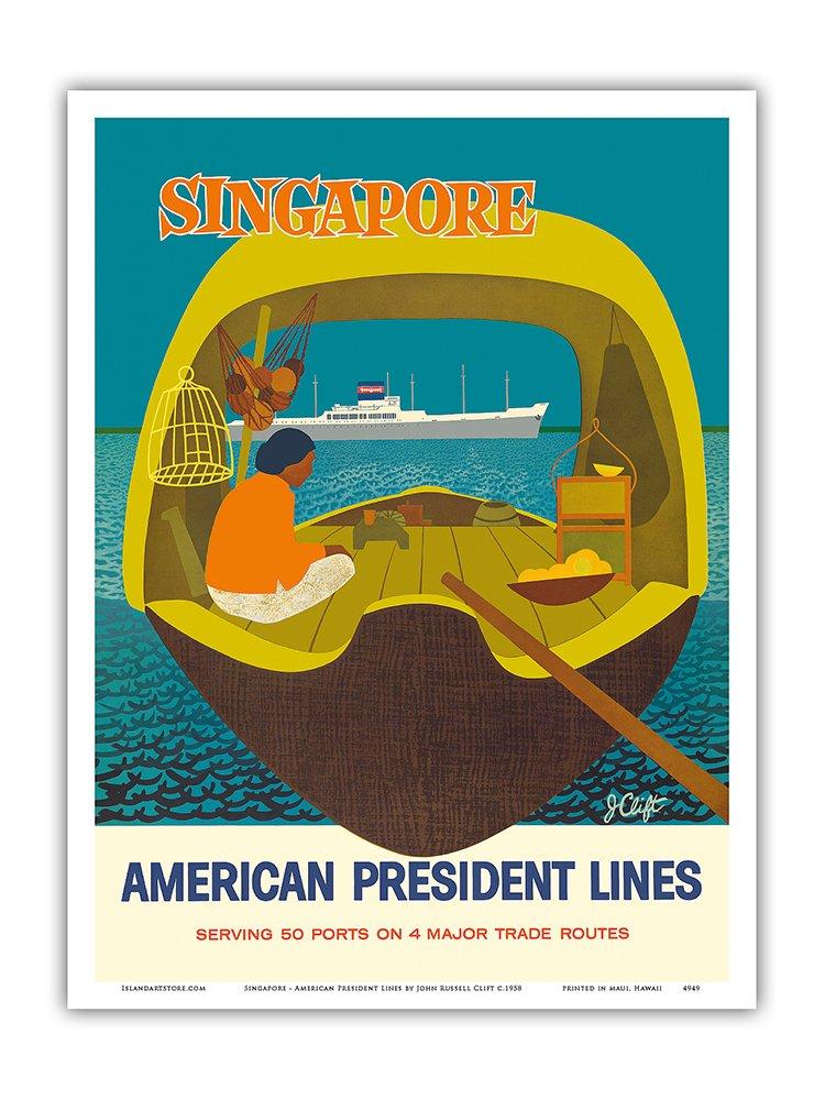 シンガポール – アメリカンプレジデントラインズ – ビンテージオーシャンライナー旅行ポスターbyジョンラッセルClift c.1958 – マスターアートプリント 9