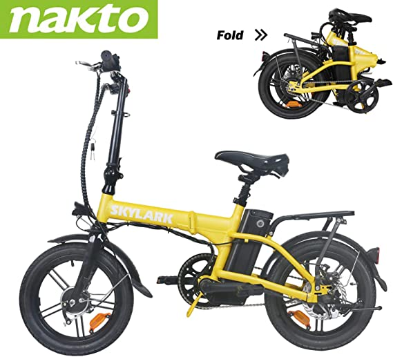 """Trekpower 16"""" Lightweight Folding EBike, Pedals&Power Assist Electric Bike, 36V Removable Lithium Battery and 250W Motor Electric Bicycle-Black/White/Yellow/Red (Yellow)"""