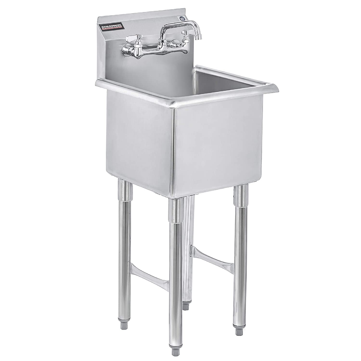 "DuraSteel Utility & Prep Sink - 1 Compartment Stainless Steel NSF Certified Easily Install - 15"" x 15"" Inner Tub Size with 6"" Swivel Spout Faucet (Commercial, Food, Kitchen, Laundry, Backyard)"