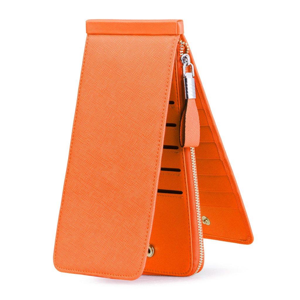 JEEBURYEE Women's Genuine Leather Multi Credit Card Holder Wallet RFID Blocking Long Bifold Clutch Wallet Ladies Purse with Zipper Pocket Orange by JEEBURYEE (Image #3)