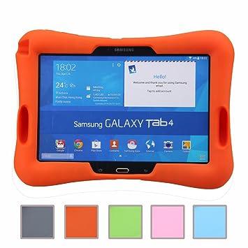NEWSTYLE prueba de golpes para niños Super ligero cubierta de protección diseño de amplificador con entrada de Audio para Samsung Galaxy Tab 4 10.1 ...