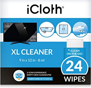 iCloth Extra Large Monitor and TV Screen Cleaner Pro-Grade Individually Wrapped Wet Wipes, 1 Wipe Cleans Several Flat Screen TV's and Monitors, 24 Wipes