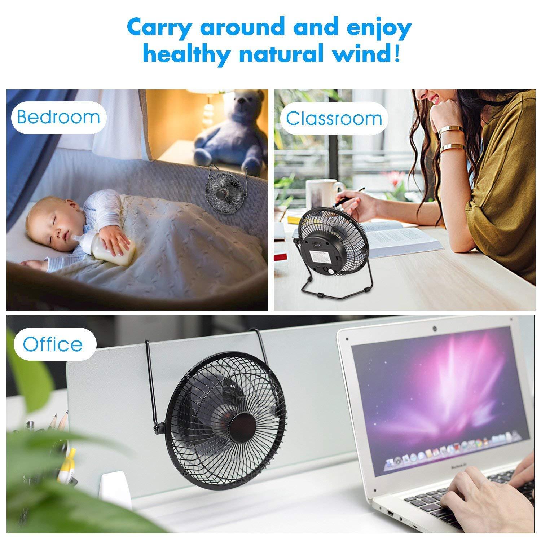 Rotorbl/ätter aus Kunststoff f/ür Hause B/üro usw.【Schwarz】 COMLIFE USB /& Wiederaufladbare Ventilator 28cm Metall Tischventilator mit 4400mAh Batterien,tragbare L/üfter Desk Fan 2 Geschwindigkeiten