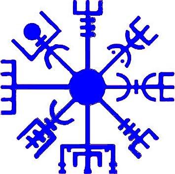 WickedGoodz Vikingo Decal-Azul Vegvísir compás de Viking de Vinilo Etiqueta- Viking para el Parachoques-Vegvísir Runa de la Etiqueta engomada-Brújula Decal: Amazon.es: Coche y moto