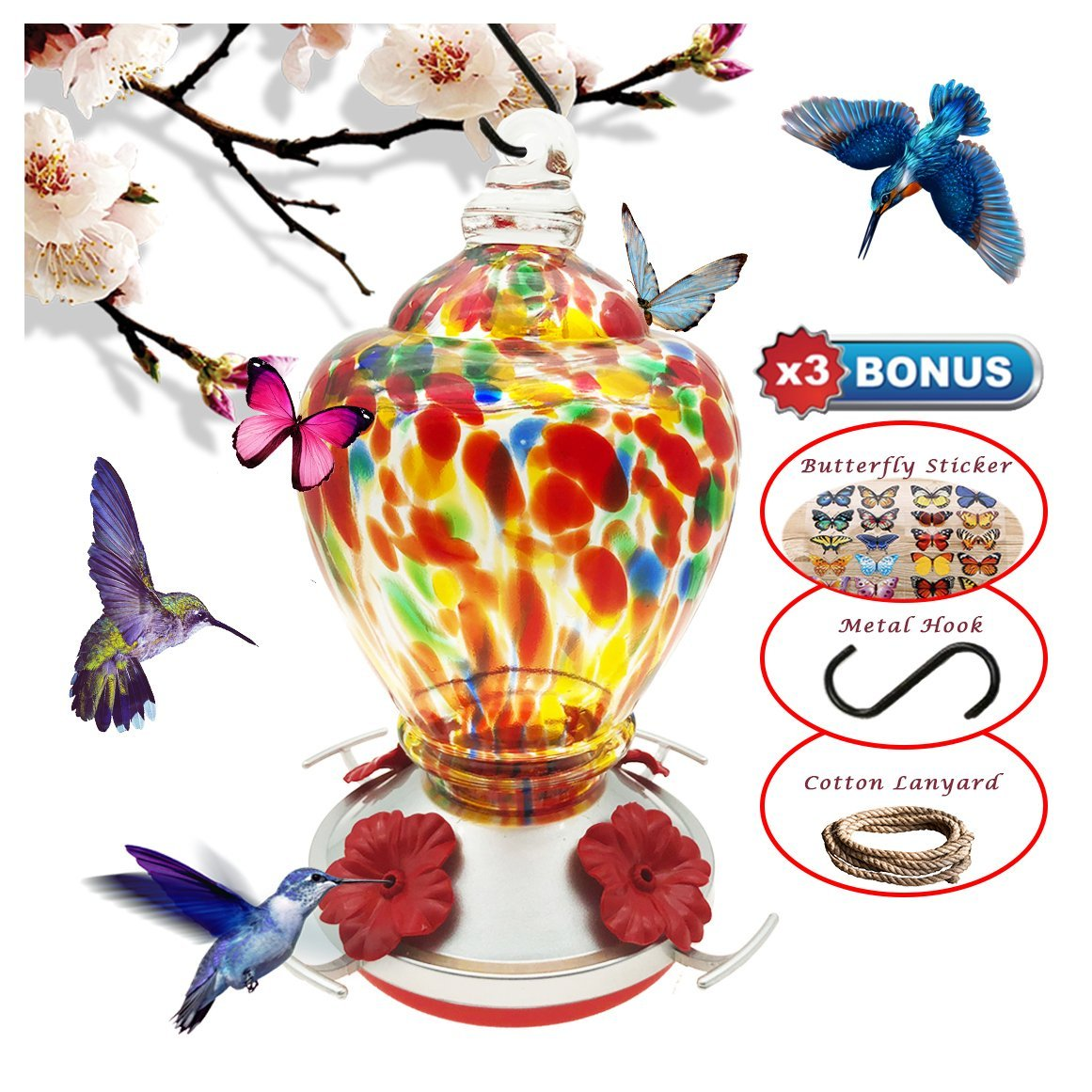 REZIPO Hummingbird Feeder with Perch - Hand Blown Glass - Orange - 27 Fluid Ounces Hummingbird Nectar Capacity include Hanging Wires