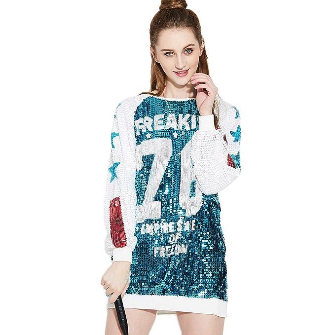 Bmeigo Vestido de Camiseta de Lentejuelas para Mujer Sudaderas de Manga Larga Tops Sueltos Blusa Mini Vestidos Fiesta Casual Cocktail Pub: Amazon.es: Ropa y ...