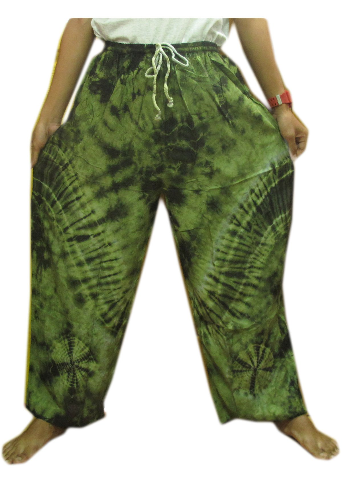 Hippie Cotton Rayon Tie Dye Fisherman Yoka Pants Hippie Baggy by Taladthai