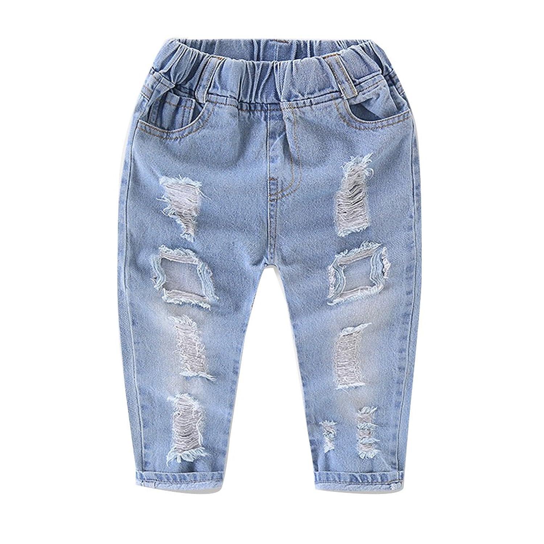 7008b6fdd5a16 Enfant Garçon Fille Jean Lâche Taille Elastique Pantalon Printemps Et Été  Denim Pantalons