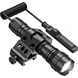 Feyachi FL11-MB Tactical Flashlight 1200 Lumen Matte Black LED Weapon Light with Picatinny Mount, Rechargeable Batteries and