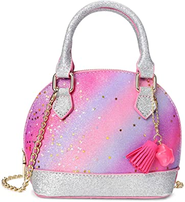 Mibasies Kids Crossbody Bag for Toddler Kids Girls Round Purse with Tassel
