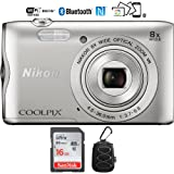 Nikon Coolpix A300 20.1MP 8x Optical Zoom NIKKOR WiFi Silver Digital Camera – (Certified Refurbished) with 16GB Bundle