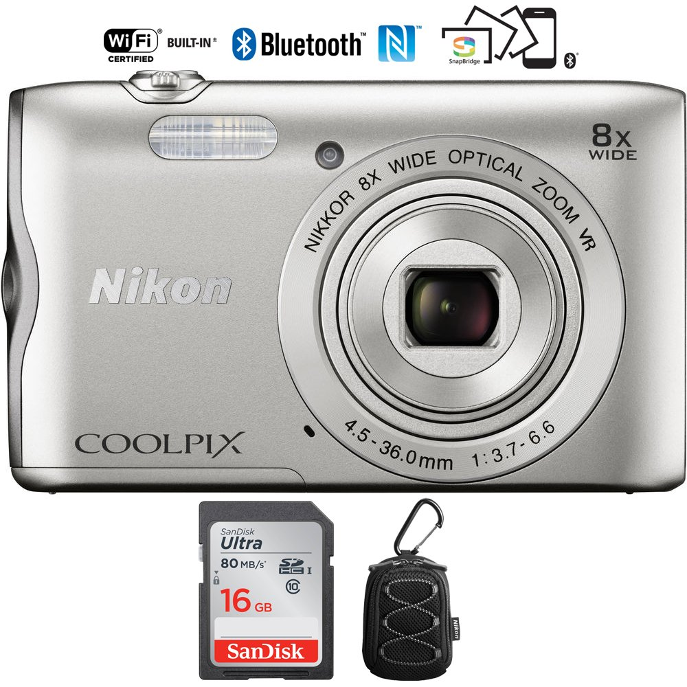 Nikon Coolpix A300 20.1MP 8x Optical Zoom NIKKOR WiFi Silver Digital Camera – (Certified Refurbished) with 16GB Bundle