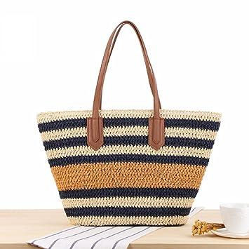 Strand Shopper Reisveschluss Schultertasche beige Große Damen Handtasche Stroh