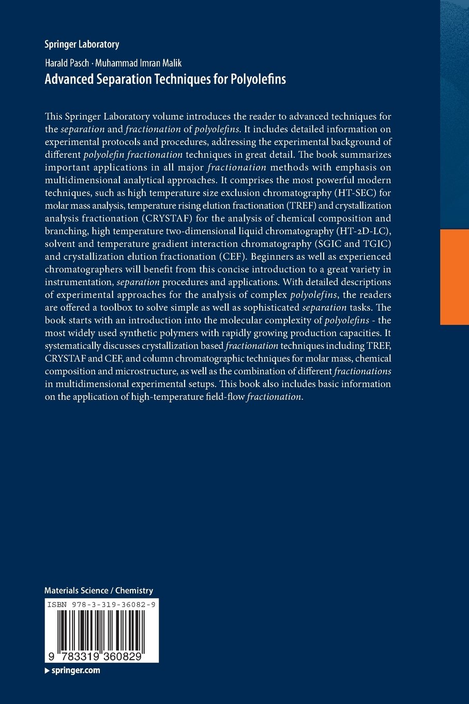 Advanced Separation Techniques for Polyolefins (Springer Laboratory):  Amazon.co.uk: Harald Pasch, Muhammad Imran Malik: 9783319360829: Books