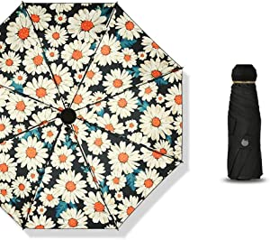 Ultra Light Parasol Folding Vinyl Sunscreen Umbrella 5 Folding 8 Bone Mini Umbrella (Color : Full Daisies)