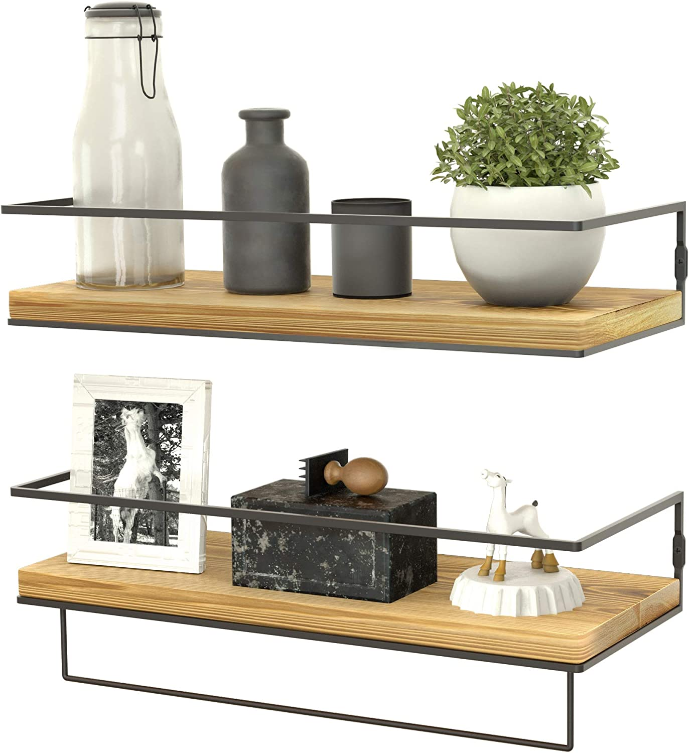 ZGO Floating Shelves for Wall Set of 2,Rustic Wood Wall Mounted Decor Storage Shelves with Black Metal Frame and Towel Rack for Bathroom, Bedroom, Living Room, Kitchen, Office
