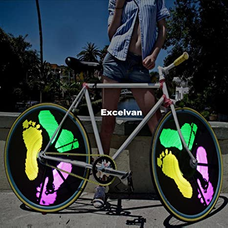 Excelvan Diy Modello Personalizzato Luci Bicicletta Ruota Bike Colorful Wheel Light 300lumen 128pcs Rgb Leds Ipx6 Waterproof Luce Colorata Per