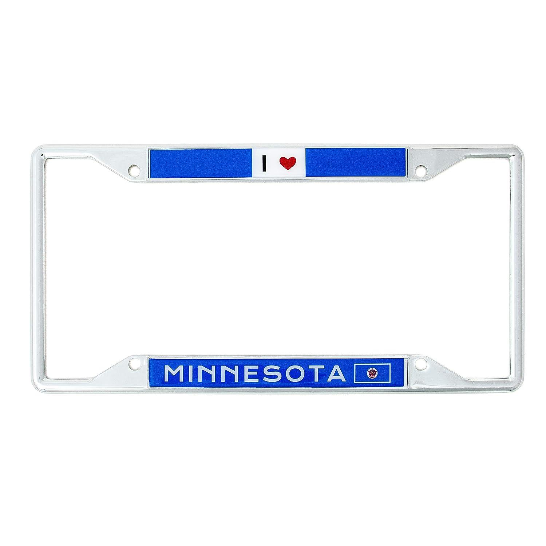 Desert Cactus State of Minnesota I Heart Love License Plate Frame for Front Back of Car Vehicle Truck