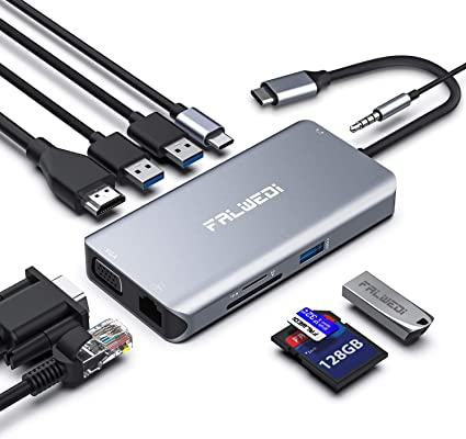 Amazon.com: Falwedi - Hub USB tipo C, adaptador 10 en 1 con ...