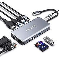 Hub USB C, adaptador tipo C, Dongle Falwedi 10-em-1 com Ethernet, 4K@30Hz HDMI, VGA, 3 USB3.0, leitor de cartão SD/TF, micro/áudio, USB-C PD 3.0, compatível com MacBook Air Pro e outros laptops tipo C