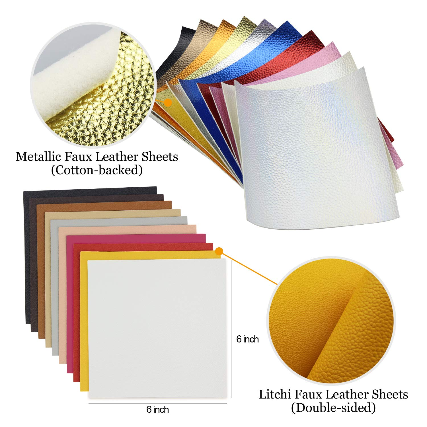 10pcs Metallic Faux Leather Sheets + 10pcs Double Sided Litchi Synthetic Leather Fabric Sheets(6''x 6'') with 140pcs Earring Hooks, 140pcs Jump Rings, Pliers and Cut Molds for Earring Making Crafts by SIMPZIA (Image #4)