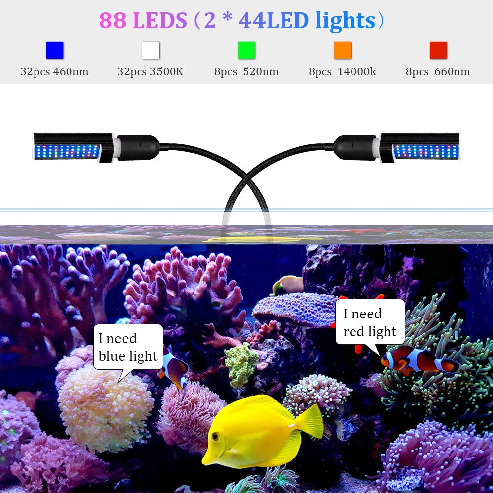 Bozily Aquarium Light Dimmable, Full Spectrum Freshwater Fish Tank Light with Replaceable Bulbs and Adjustable C-Clamp for Aquatic Plant Growth by Bozily (Image #3)