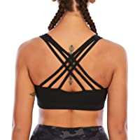 Fancyskin Sports Bras for Women Padded Back Strappy Yoga Bra Stretchy Cozy Crop Top