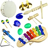 Tera 10Pcs Rhythm Percussion Music Instrument Drum Bells Maracas Castanets Enlighten Toys Kit for Baby Children Kids