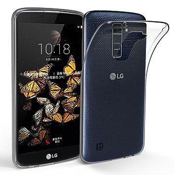 Funda para LG K10 (2016), Leathlux Trasparente Suave TPU Carcasa Protector Bumper Tapa Claro Flexible Silicona Gel Ultra Delgado Cubierta para LG K10 ...