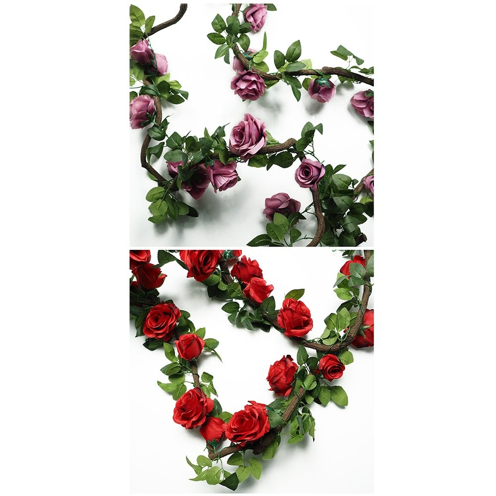 Plantas Artificiales (2pcs X 220cm) Artificial Garland Plants Ivy Vine Leaves Decor Seda Verde Paño Follaje Home Garden Fence Wedding Party Ventana Escalera Al Aire Libre (Color : Red-2pcs): Amazon.es: Hogar