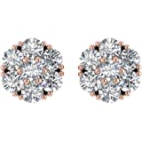 IGI Certified 14K Gold Round Diamond Star Flower Shaped Stud Earring ( 1 1/2 Carat)