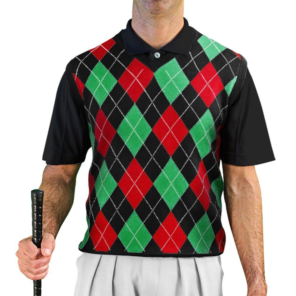 V-Neck Argyle Golf Sweater Vests - GolfKnickers: Mens - Pullover - Black/Red/Lime - Large