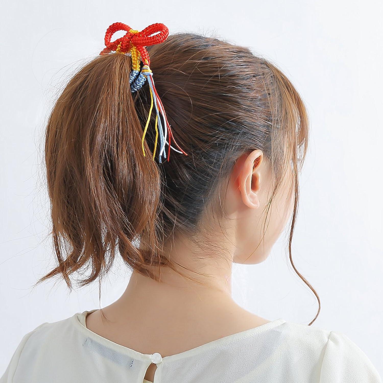 [プレイズショパン] 組紐 組みひも くみひも 赤 青 白 黄 4色 髪飾り リストバンド ミサンガ ブレスレット グッズ (4色)
