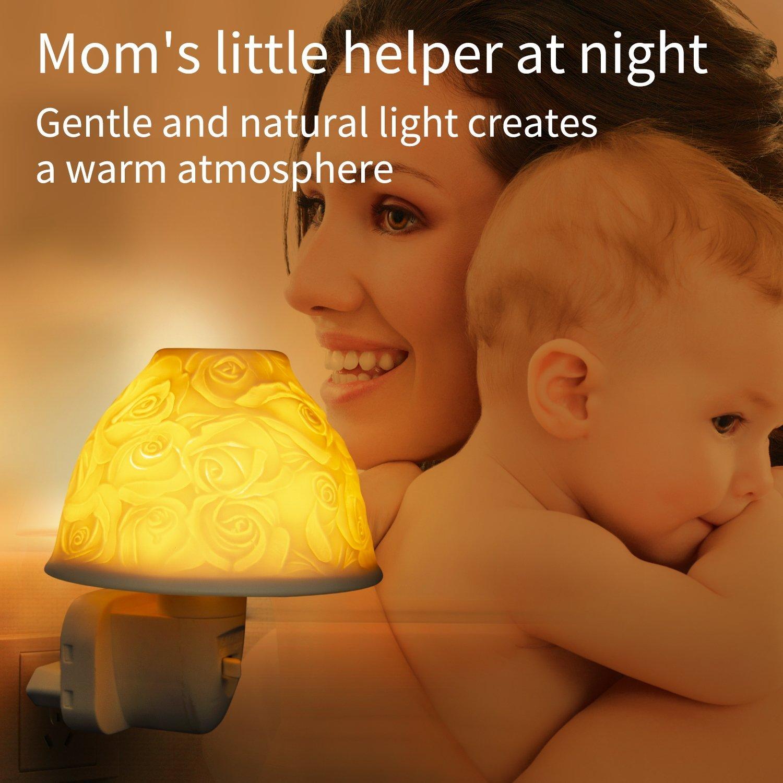 Warmwei/ß Nachtlicht Steckdose Kimfly Keramik Kunst Nachtlicht Kind mit /ätherischem /Öl Aromatherapie Ofen und Gl/ühbirne f/ür Schlafzimmer Energieklasse A+