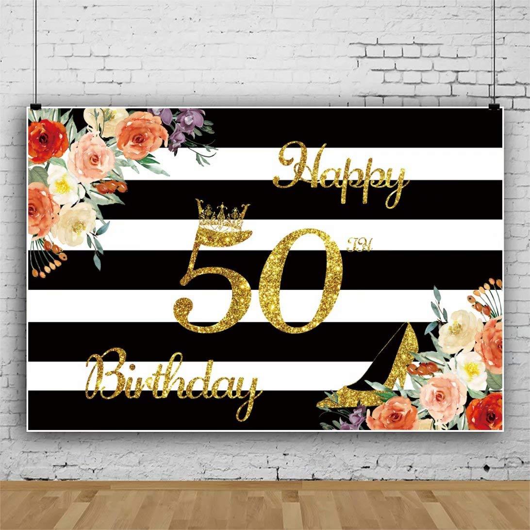 Cassisy 1,5x1m Vinilo Cumpleaños Telon de Fondo 50 cumpleaños telón de Fondo Corona Lentejuelas Rayas Blancas Negras Fondos para Fotografia Party ...